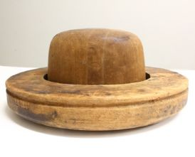 Milliner's 1930's Western Crown  and Upturned Brim Hat Block Combination
